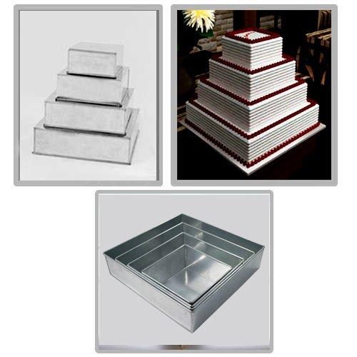 4 Tier Square Multilayer Wedding Birthday Anniversary Baking Cake Tins Cake Pans 6 8 10 12 - EUROTINS