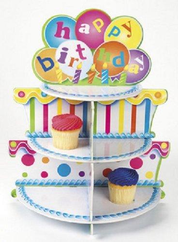 Foam Happy Birthday Cake Cupcake Tray Holder Party Display