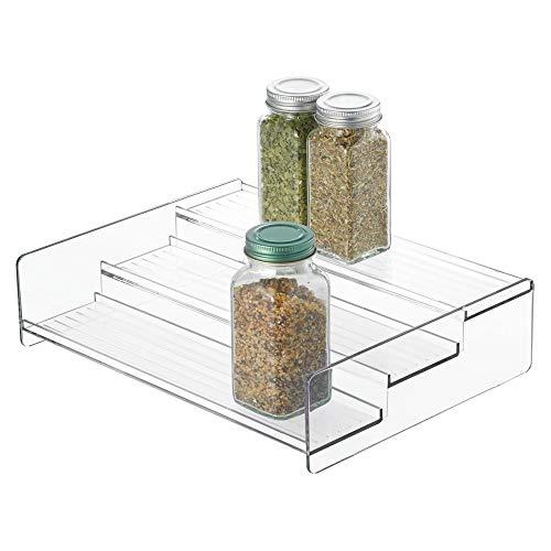 iDesign Linus Plastic Stadium Spice Rack 3-Tier Organizer for Kitchen Pantry Cabinet Countertops Shelf 812 x 1062 x 262 Clear