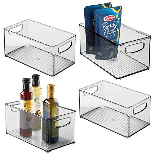 mDesign Plastic Stackable Kitchen Pantry Cabinet Refrigerator or Freezer Food Storage Bin Container with Handles - Organizer for Fruit Yogurt Snacks Pasta - BPA Free 10 Long 4 Pack - Smoke Gray
