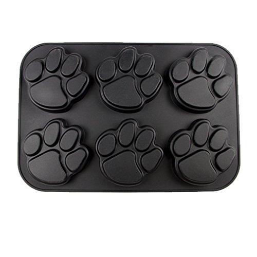 Paw Print - Silicone Muffin Tray - Black