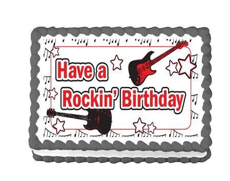 CakeSupplyShop Item46161 Rock Star Guitar Edible Cake Topper