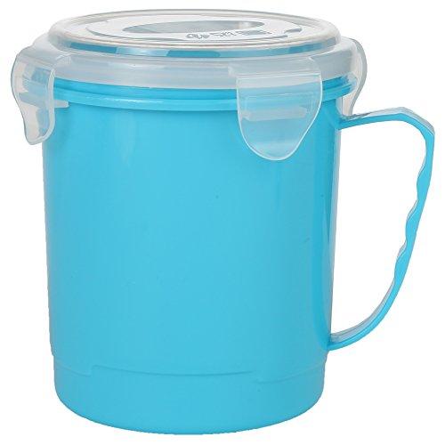 Home-X Single Microwave Soup Mug with Secure Snap Close Lid 22 oz Blue