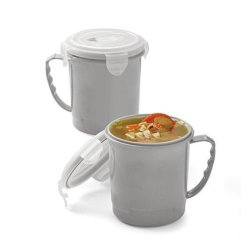 Microwave Soup Mugs in Grey Set of 2