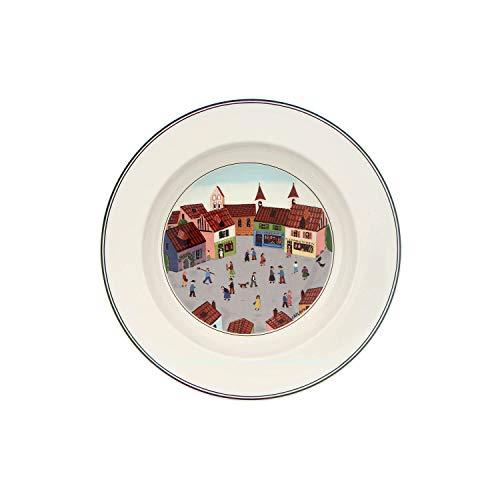 Villeroy Boch 1023372705 Design Naif Rim Soup 4-Old Village Square 9 in WhiteColorful