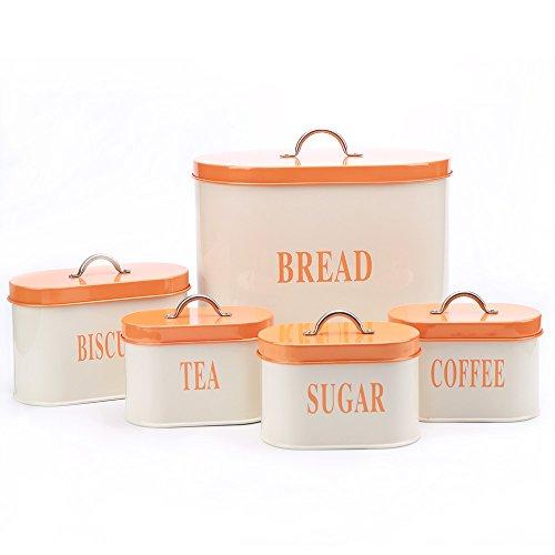 Hot Sale Orange X729 Metal Oval Bread BinBoxContainerHome Kitchen Gift Biscuit Tea Coffee Sugar Canister Set