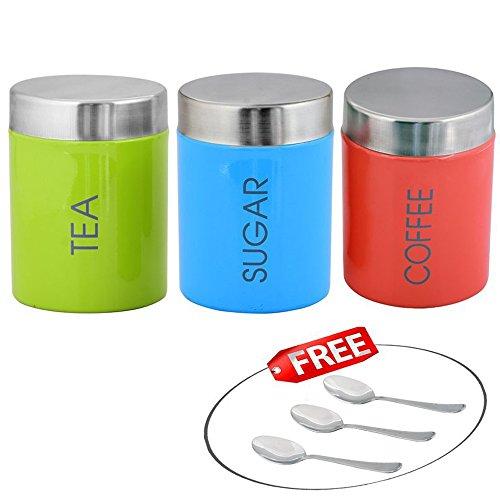 Kosma Set of 3 Stainless Steel Tea Sugar Coffee Canister Sets  Kitchen Storage Jar Sets in vibrant Colours with 3 TeaSugarCoffee Spoon Free GreenBlueOrange