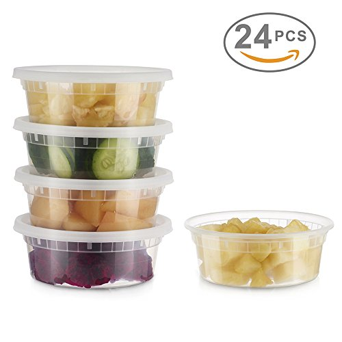 Glotoch 24 Pack Durable Plastic Microwaveable Reusable Clear Takeout Travel Deli Food Storage Containers with Lids Dishwasher and Freezer Safe BPA Free 8oz