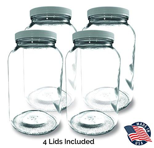 1-GALLON Glass Jar Wide Mouth 4 PACK – MADE IN USA – 128oz Mason Jar with Lids – Used for Canning Fermenting Kombucha Kefir Yogurt BPA Free