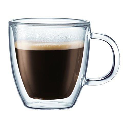 Bodum BISTRO Coffee Mug Double-Wall Insulated Glass Espresso Mugs Clear 10 Ounces Each Set of 2
