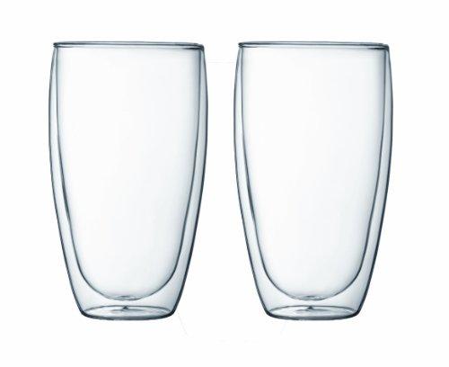 Bodum PAVINA Coffee Mug Double-Wall Insulate Glass Mug Clear 15 Ounces Each Set of 2