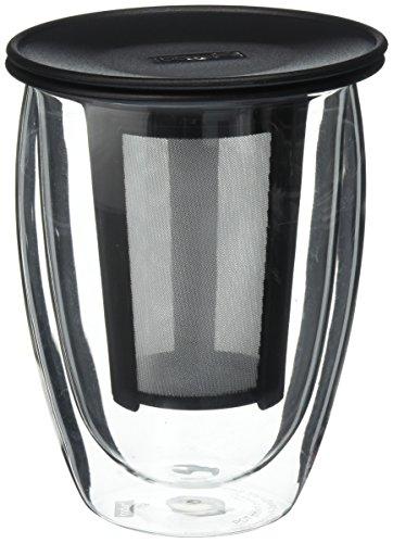 Bodum Tea For One Double 035-Liter Wall Glass Tea Strainer 12-Ounce Black