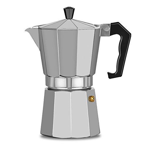 XIHAO Aluminum Stovetop Espresso Maker 6 Cup Silver Italian Moka Coffee Pot