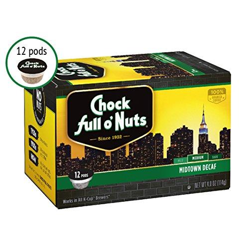 Chock Full oNuts Single-Serve Coffee Pods Midtown Decaf Medium Roast - Premium Arabica Coffee - Compatible with Keurig K-Cup Brewers 12 Count
