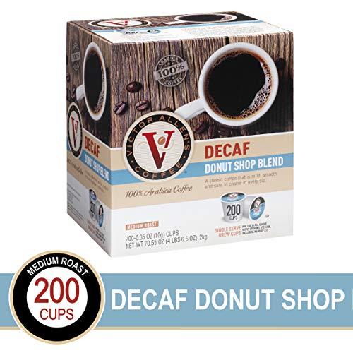 Decaf Donut Shop Blend for K-Cup Keurig 20 Brewers 200 Count Victor Allens Coffee Medium Roast Single Serve Coffee Pods