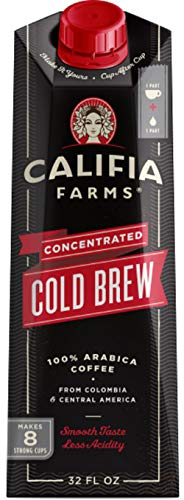 Califia Farms Black Unsweetened Concentrated Cold Brew Coffee 32 oz Pack of 6  Makes 48 Servings  Clean Energy  Smooth Balanced  Whole30  Keto