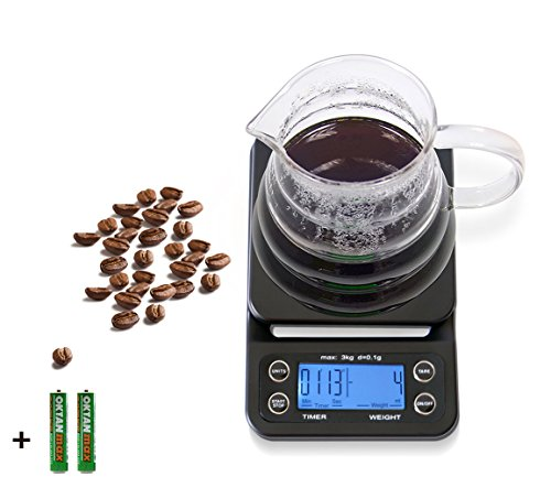 HuiSmart Digital Coffee Scale with Timer and Tare Function 01g Multifunctional Kitchen Scales Food Scales 66lb3kg LCD WBlue BacklitBatteries IncludedBlack