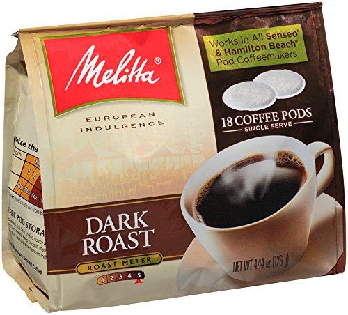 Melitta Coffee Pods for Senseo and Hamilton Beach Pod Brewers Dark Roast  444-OuncePack of 6