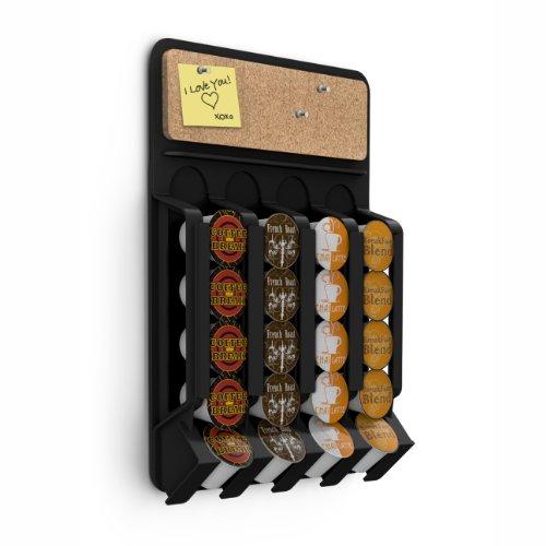 Mind Reader Coffee Pod Storage Dispenser Wall Mount  Fridge Mount with Cork Top Black