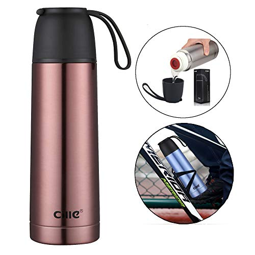 Cille 17 oz Insulated Water Bottles Stainless Steel BottleMetal Double Walled Vacuum Flask Leak proof Bicycle Water Bottle for Teen Reusable Sports Bottle 500ml Red