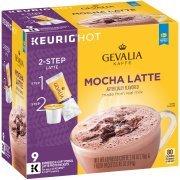 Gevalia Mocha Latte Espresso Coffee K-Cup Packs Froth Packets 9 ct Box
