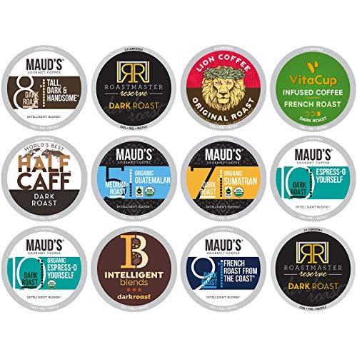 Dark Roast Coffee Variety Pack 50ct Recyclable Single Serve Dark Roast Coffee Pods - 100 Arabica Coffee California Roasted Keurig Dark Roast K Cups Compatible Including 20