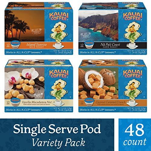 Kauai Coffee Single Serve Coffee Cup Variety Pack 48Count 12 Island Sunrise 12 Na Pali Coast 12 Coconut Caramel Crunch 12 Vanilla Macadamia Nut