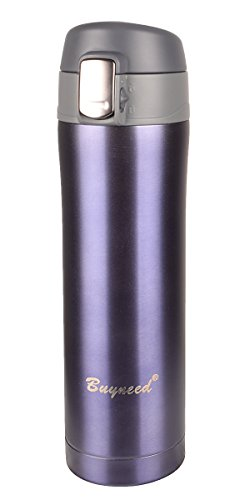 Insulated Stainless Steel Vacuum Flask Travel Coffee Mug Leak Proof Beverage Thermos Bottle 16 OzGray Blue