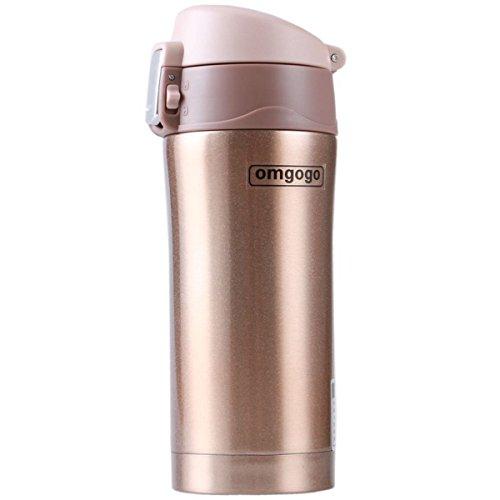Omgogo Insulated Travel Mug Coffee Mugs Stainless Steel Lid Lock Prevents Leaks 12oz Golden