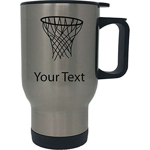 Custom Personalized Basketball Hoop 14 oz Silver Stainless Steel Travel Coffee Mug with Handle