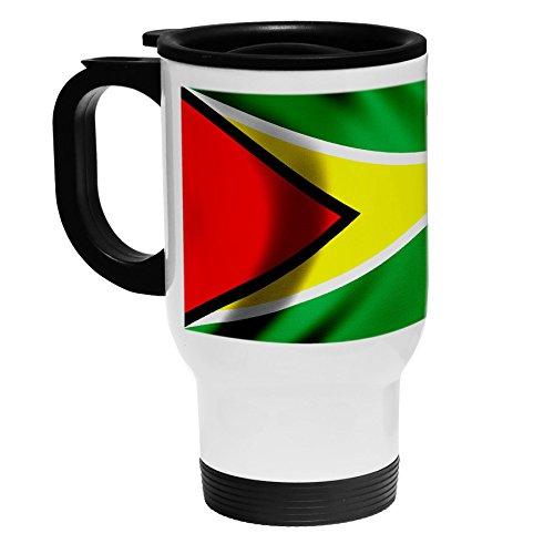 High Quality White Stainless Steel Coffee  Travel Mug - Flag of Guyana Guyanese - WoodUSA