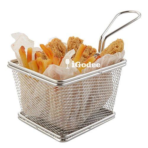 iGodee Food-grade Stainless Steel French Fries Basket Fryer Basket Kitchen Cooking Tool Food Presentation Tableware ZF017