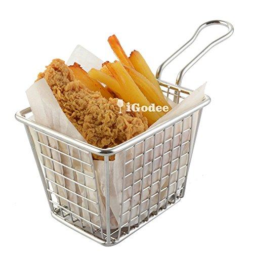 iGodee French Fries Basket Food-grade Stainless Steel Mini Fryer Basket Kitchen Cooking Tool Food Presentation Tableware INF0014