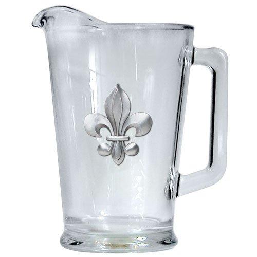 FLEUR DE LIS 60-OZ GLASS PITCHER WITH PEWTER CASTING