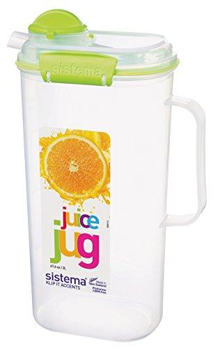 Sistema 1-Piece 2 Litre Polyproplene Juice Jug Clips and Seals Lime Aqua Purple or White