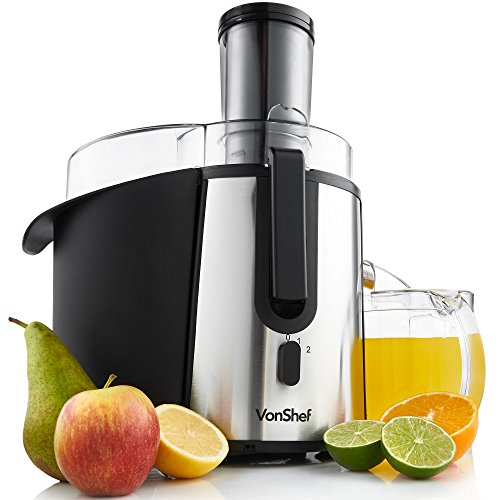 VonShef Whole Fruit Juice Extractor Centrifugal Juicer Machine 700 Watt Max Power Motor with 2 Speed Settings Juice Jug and Cleaning Brush Stainless Steel Professional Powerful Wide Mouth