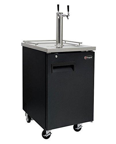 Kegco Two Faucet Commercial Direct Draw Beer Dispenser Black Kegerator Keg Cooler XCK-1B-2