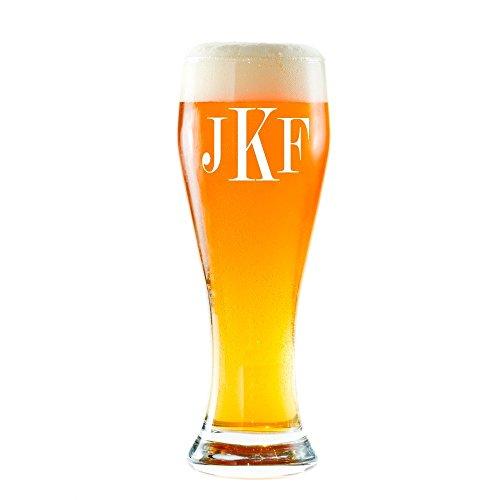 Personalized Pilsner Beer Glass  Monogrammed Pint Glasses Initials Pilsner Beer glass Pilsner 16 oz