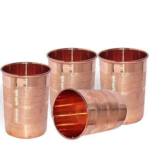 DakshCraft Handmade Pure Copper Tumbler Glass Set of 4