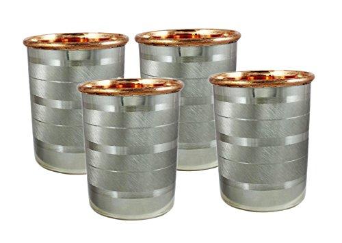 Global Mart Copper Tumbler Glass for Healing Inside Copper Outside Steel 12 Ounce Set of 4