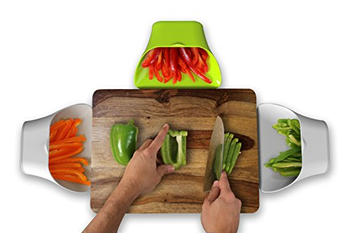 ThinkHat ChopTainer Cutting Board Space Saver Meal Prep Storage Salad Containers Portion Control Cooking Chopping Measuring Cups Organizer Bowls Trays BPA Free Set of 3 Including Colander