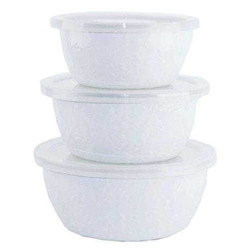 Enamelware - Nesting Bowls - White on White Texture Pattern