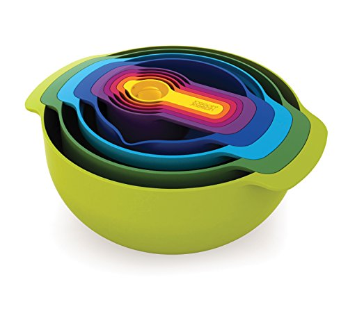 Joseph Joseph 40031 Nest 9 Nesting Bowls Set with Mixing Bowls Measuring Cups Sieve Colander 9-Piece Multicolored