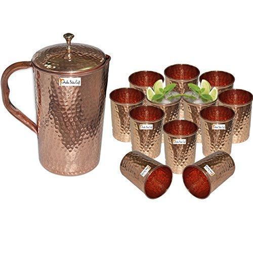 Prisha India Craft  Best Quality Pure Copper Jug  Hammered Jug 1650 ML  5580 oz  with Twelve 12 Glass Drinkware Set of Jug and Glass - Copper Jug Glass Set - Tumbler Set - Christmas Gift