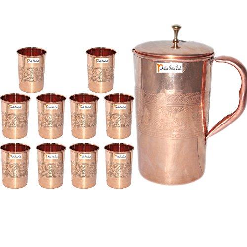 Prisha India Craft  Best Quality Pure Copper Jug  Handmade Jug 1600 ML  5410 oz  with Ten 10 Glass Drinkware Set of Jug and Glass - Copper Jug Glass Set - Tumbler Set - Christmas Gift