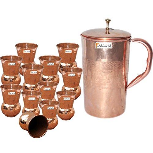 Prisha India Craft  Best Quality Pure Copper Jug  Handmade Jug 1600 ML  5410 oz  with Twelve 12 Glass Drinkware Set of Jug and Glass - Copper Jug Glass Set - Tumbler Set - Christmas Gift