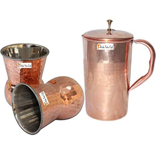 Prisha India Craft  Best Quality Pure Copper Jug  Handmade Jug 1600 ML  5410 oz  with Two Glass Drinkware Set of Jug and Glass - Copper Jug Glass Set - Tumbler Set - Christmas Gift