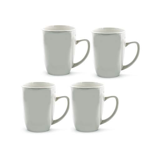 12oz Contemporary White Stoneware Mugs Set of 4 Mugs