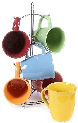 7 Pc Multi Colored Coffee Mug Set Stoneware Mugs Set - 15 OZ Ceramic Mug Sets With Rack Pastel