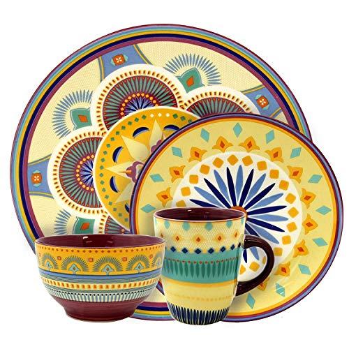 Dinnerware Plate Stoneware Mug Set 16 Piece Dining Dinner Dessert Bowl Mug Reactive Glaze Service 4 Place Home Kitchen Food Service Equipment Supplies Tabletop Serveware Eat Dishwasher Microwave Safe